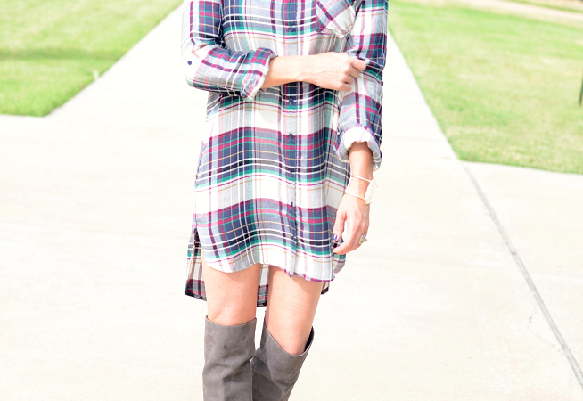 Plaid Dress + Over the Knee Boots