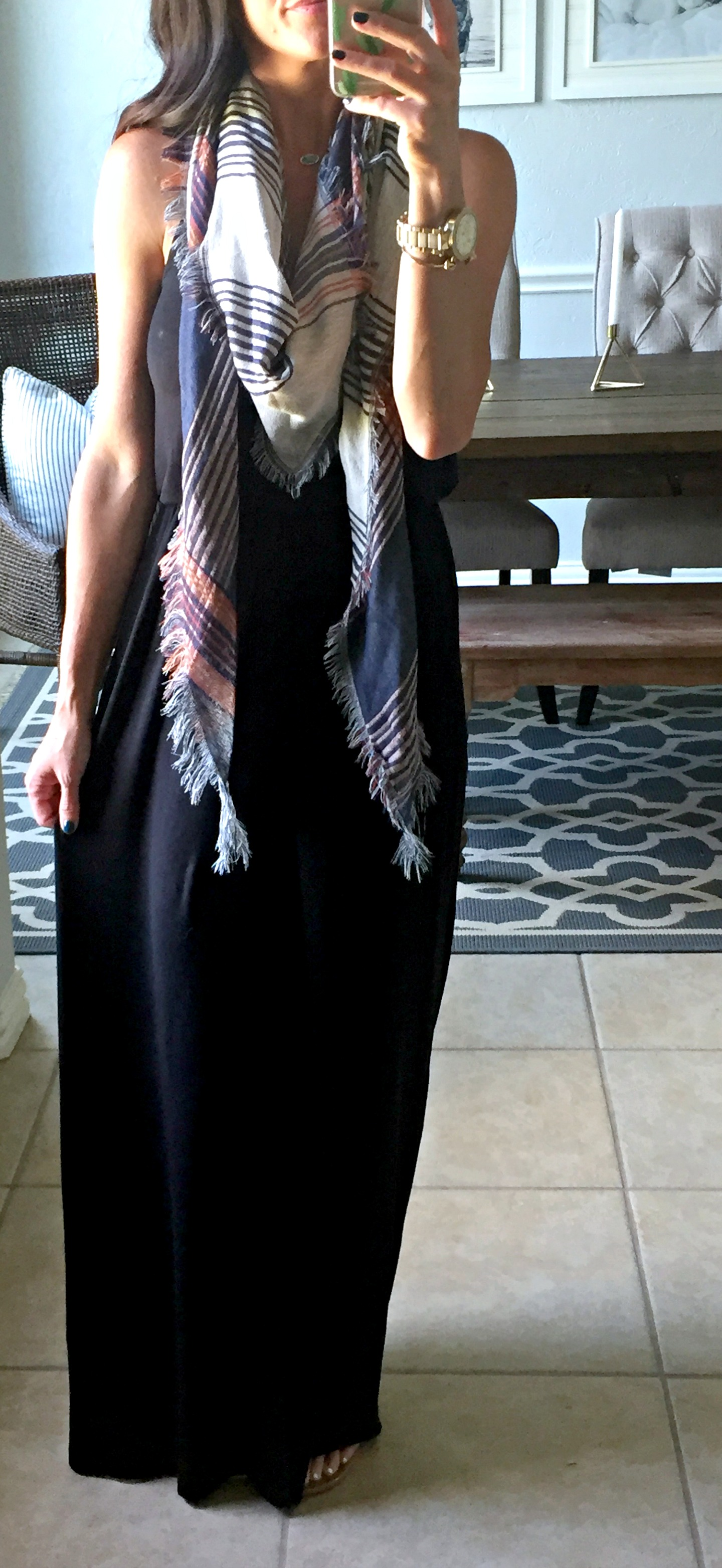 5 ways to style a black dress, maxi dress, scarf
