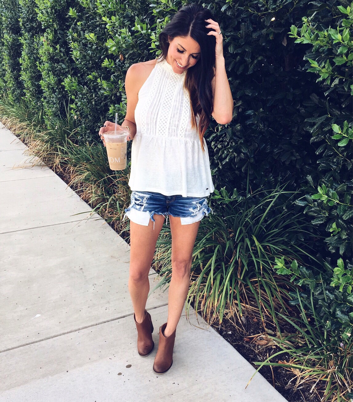 NSale: the final days, denim shorts, white top, booties
