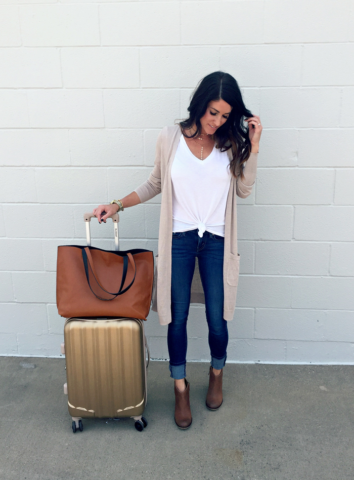 Travel Style with Nordstrom, cardigan, jeans, booties, cardigan