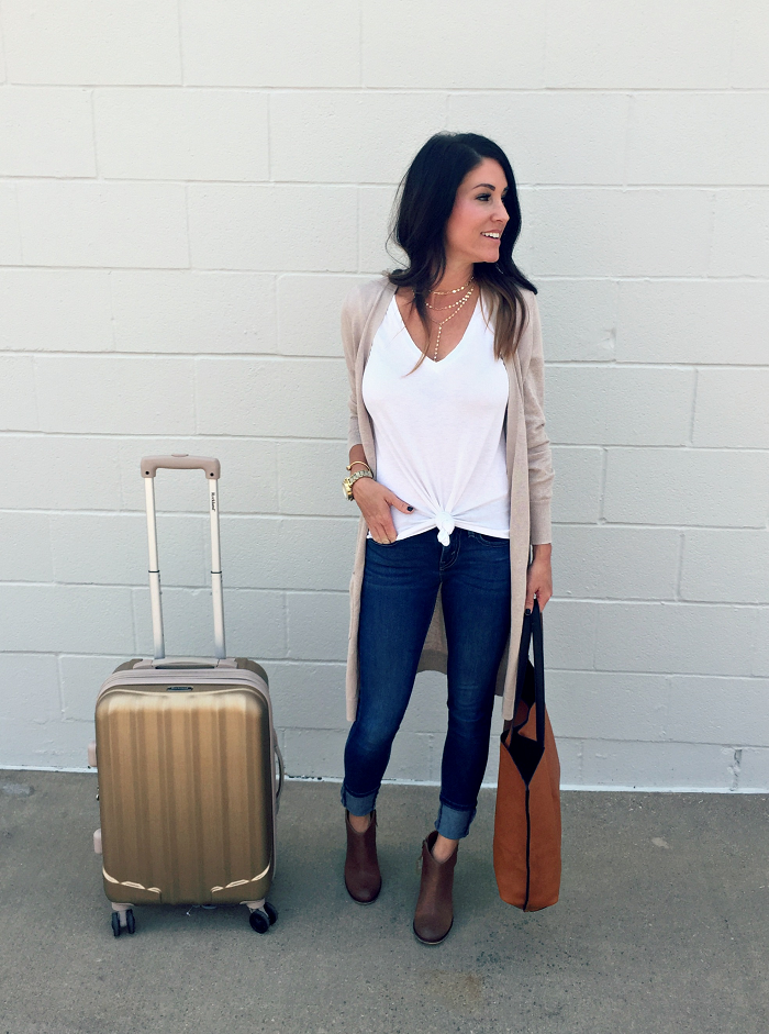 Travel Style with Nordstrom, jeans, booties, cardigan