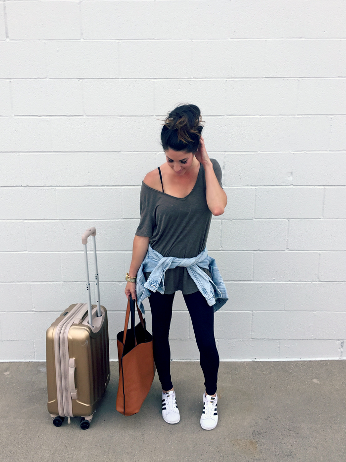 Travel Style with Nordstrom, leggings, sneakers, luggage