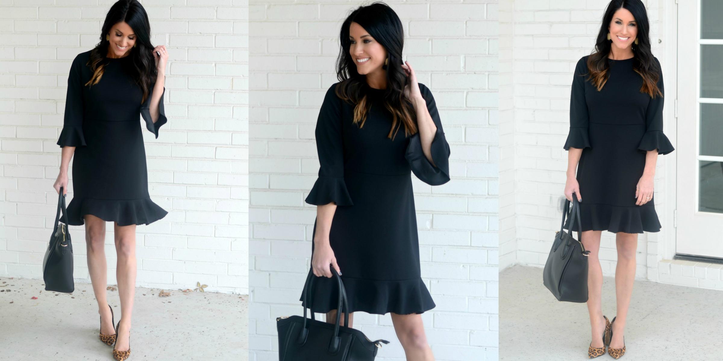 Black Dress and Leopard Heels