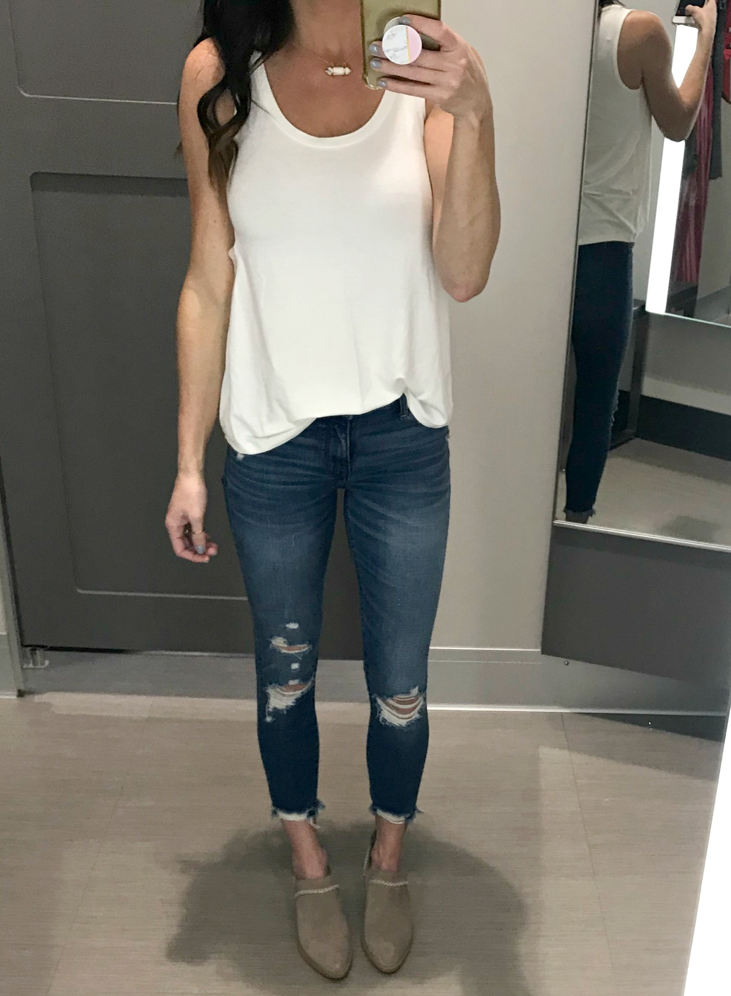 White Tank, jeans, booties