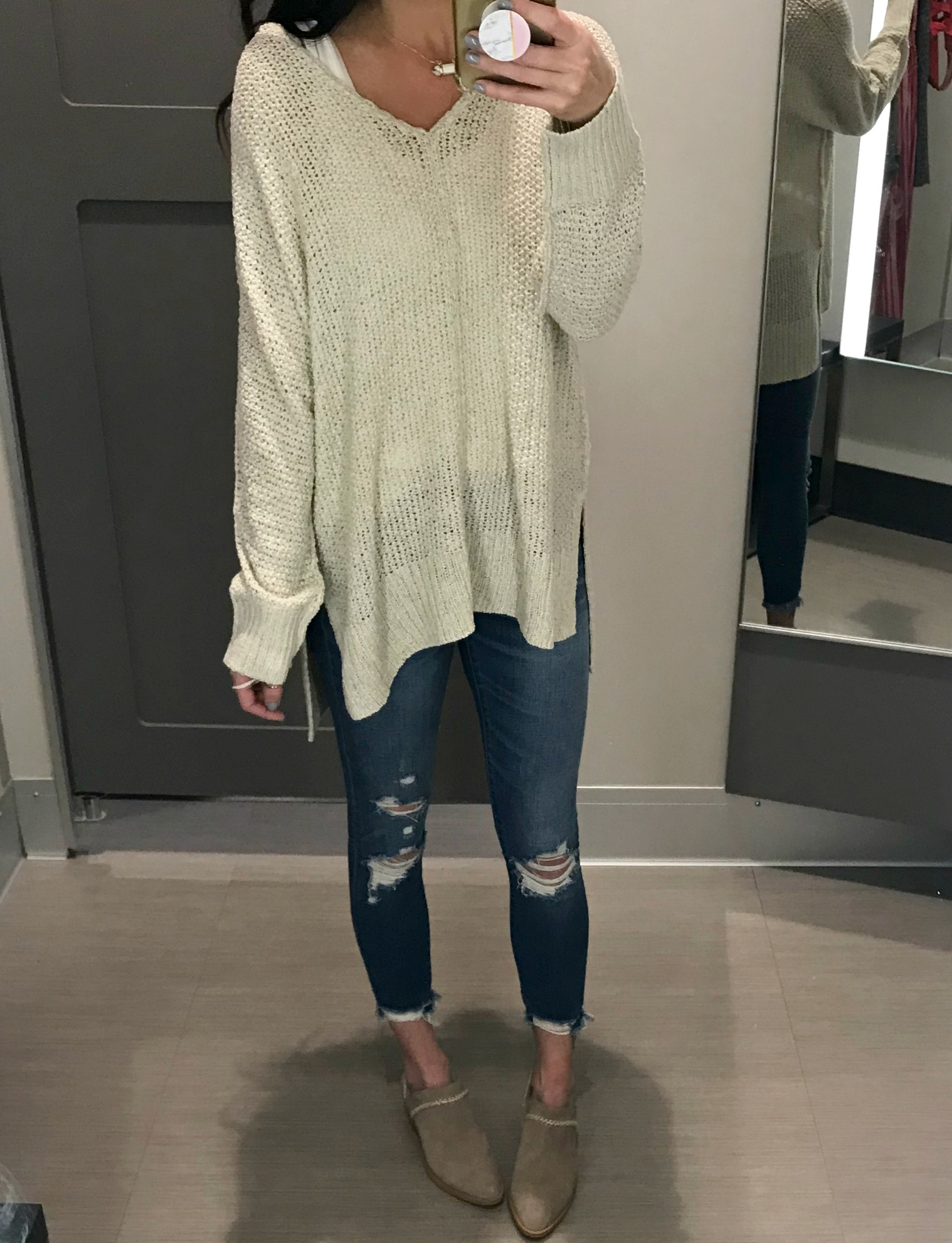 Sweater, jeans, booties