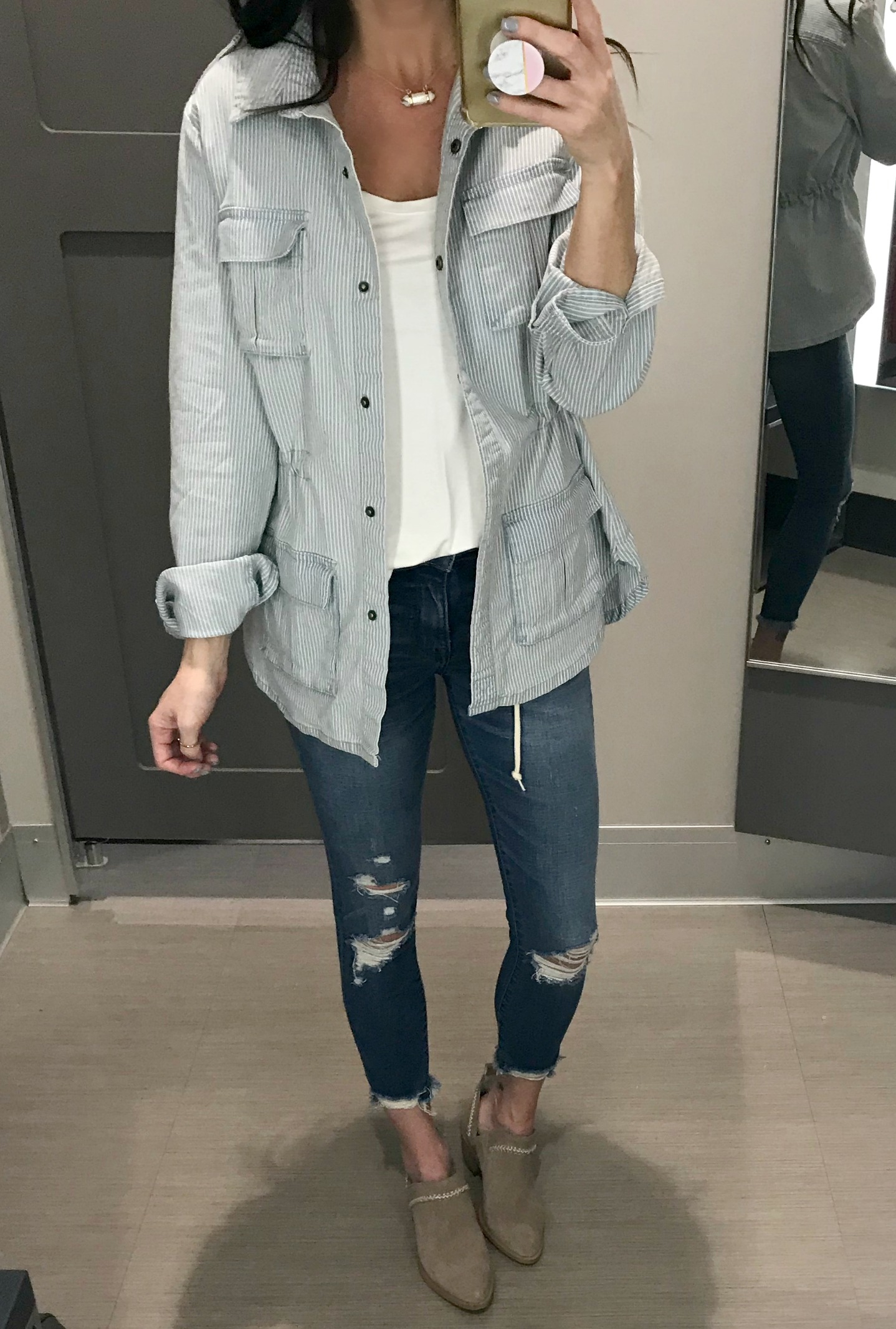 Jacket, cami, jeans, and booties