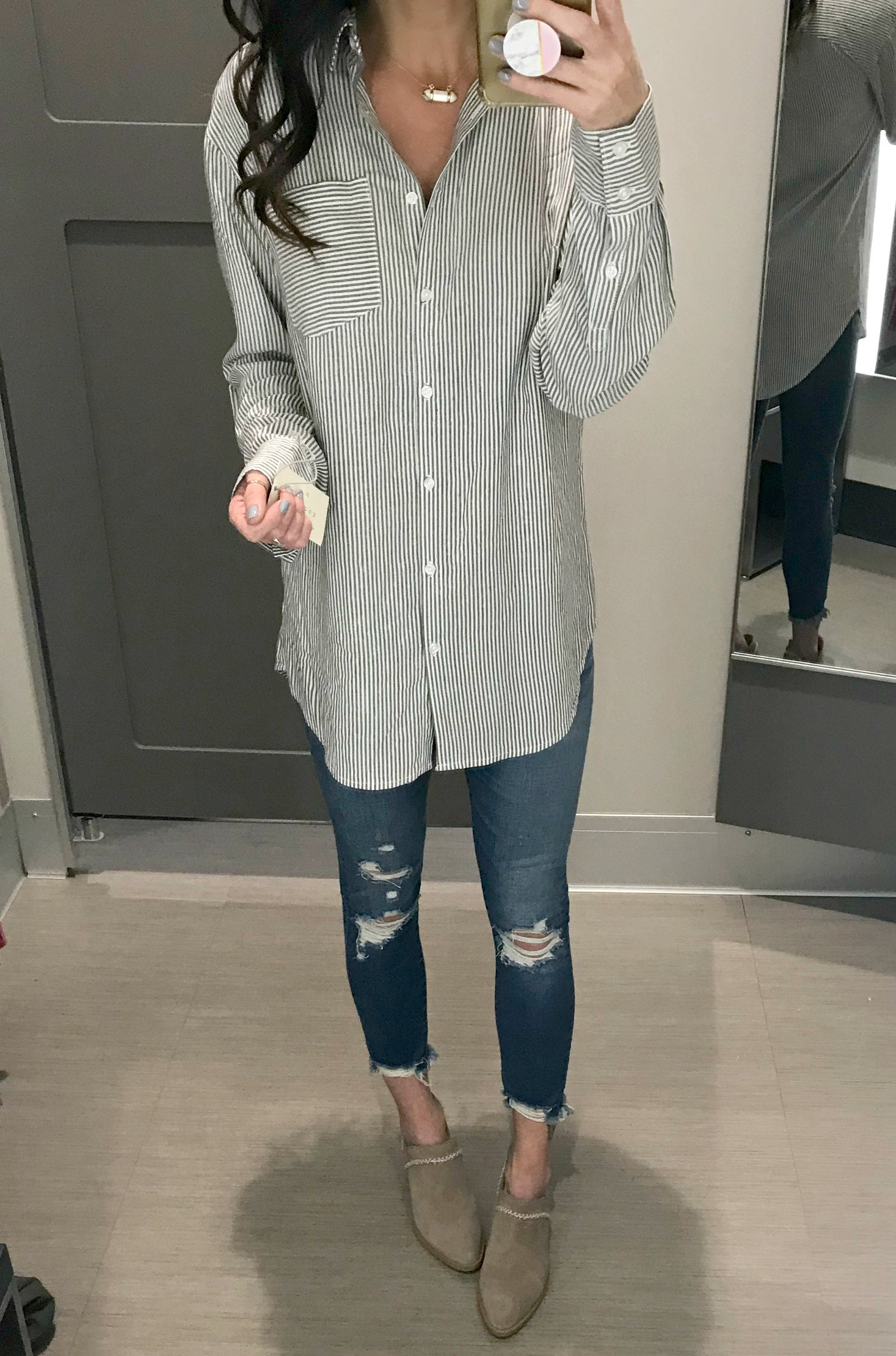 Striped Tunic, Jeans, Booties