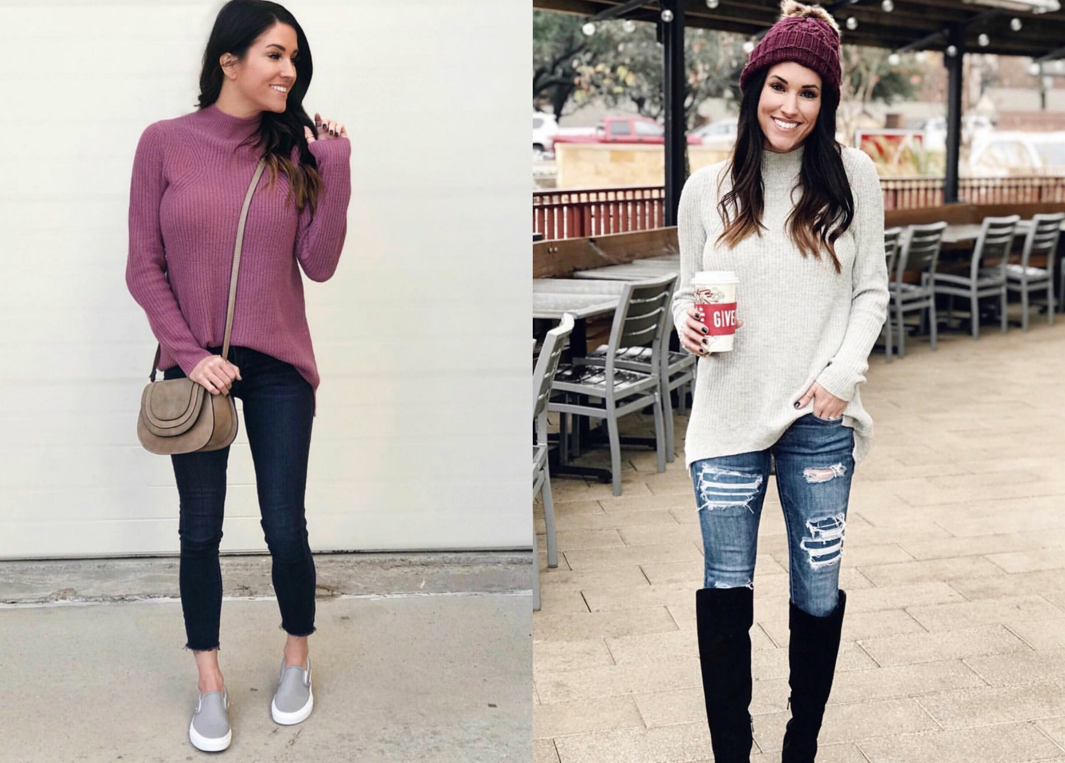 Mock Neck Sweater and Jeans, casual outfit