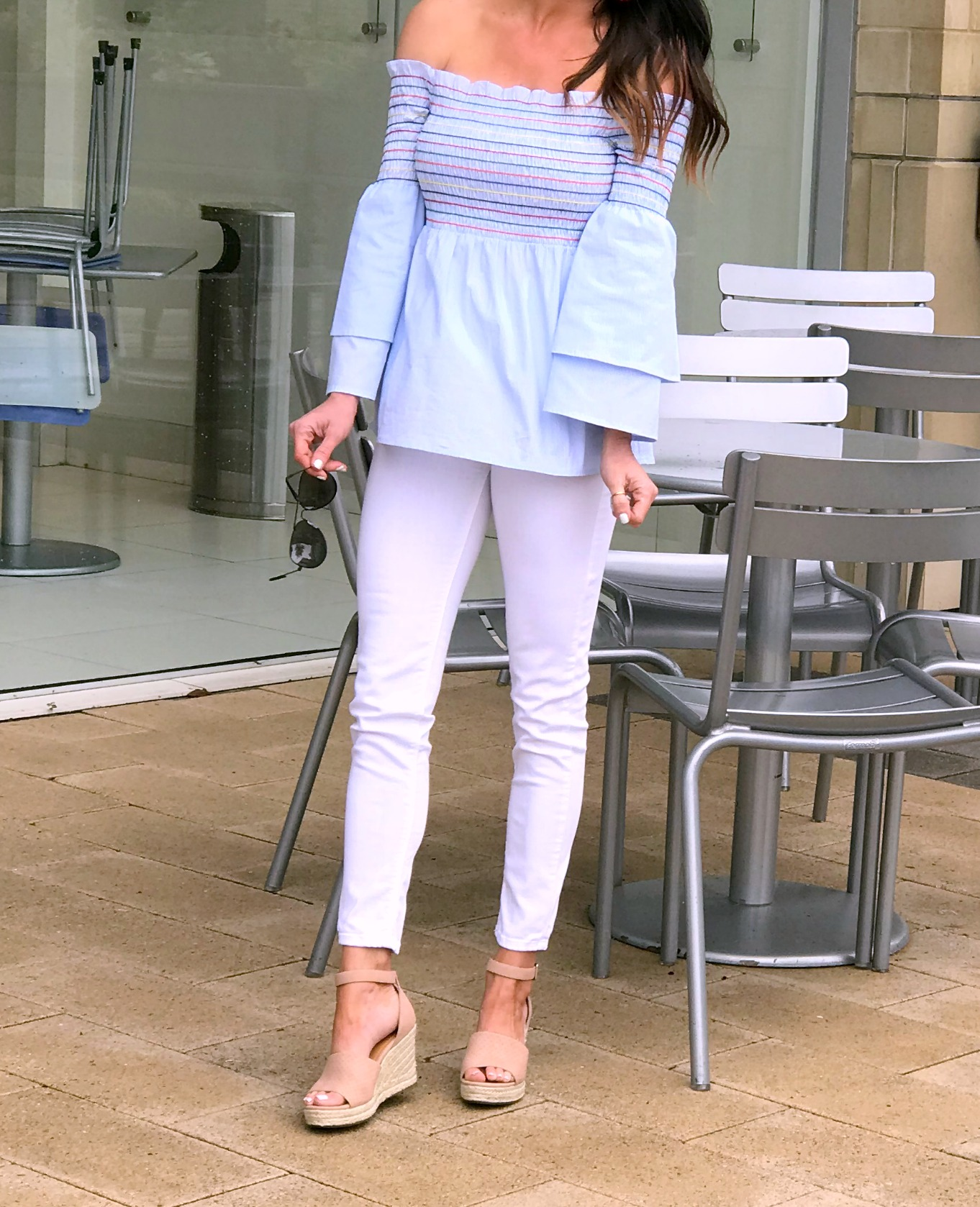 White pants outfit, smocked top