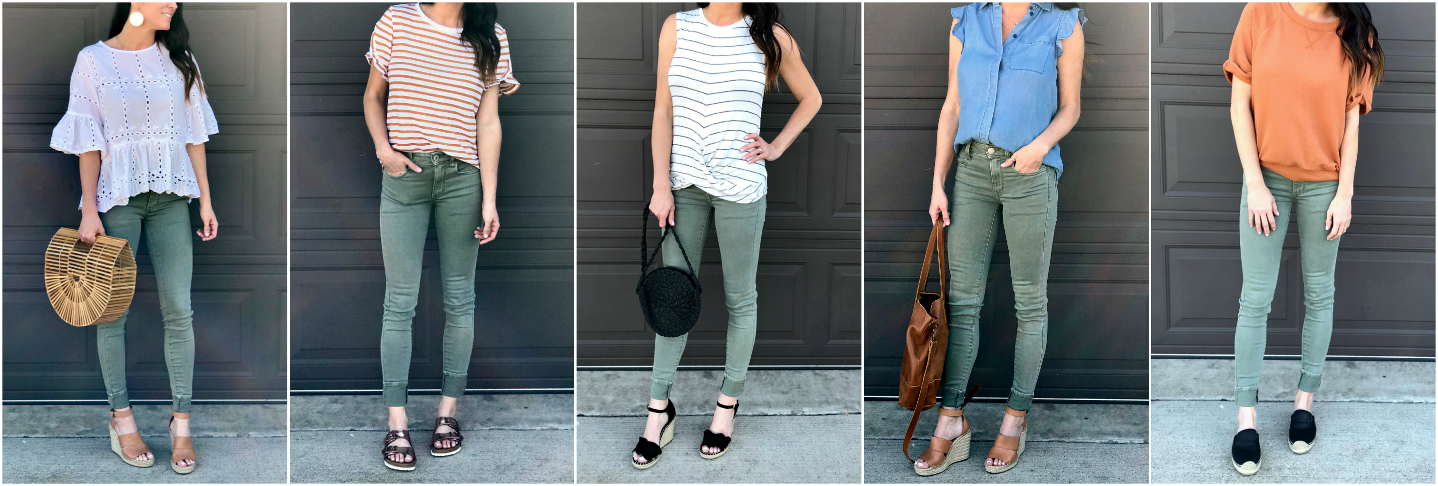 Green Pants, wedges, spring style
