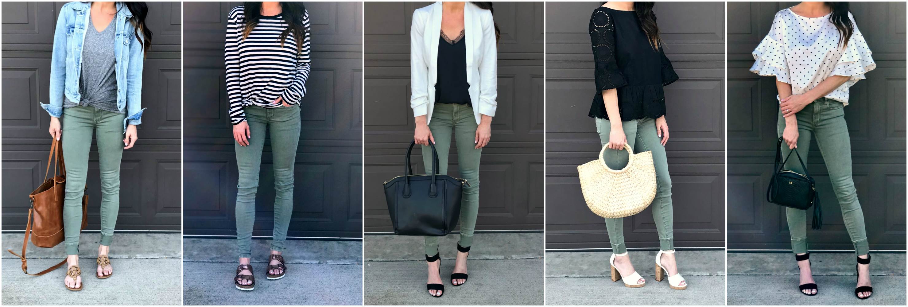 Green pants, spring style, green jeans, ten ways