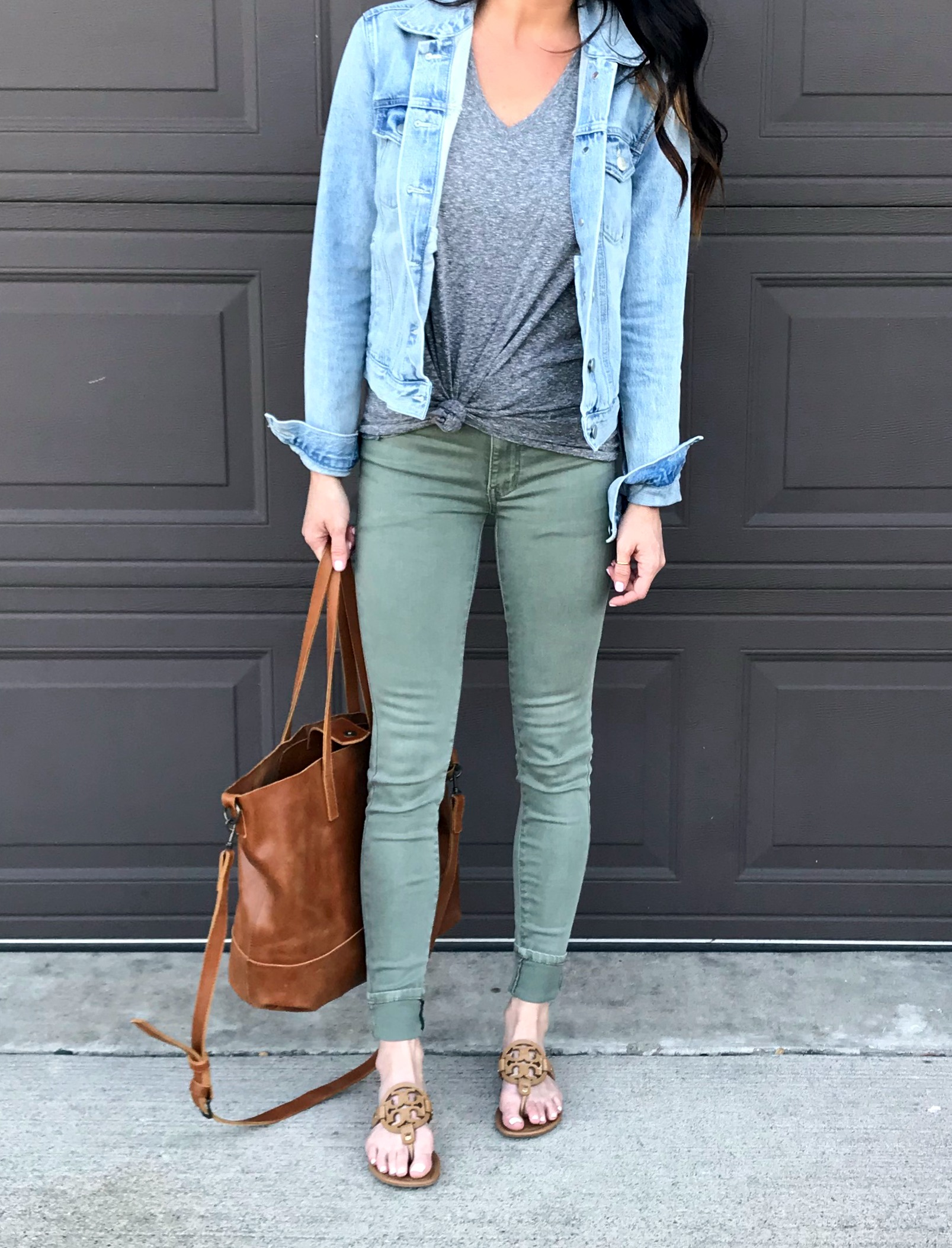 Green Pants, denim jacket, tote