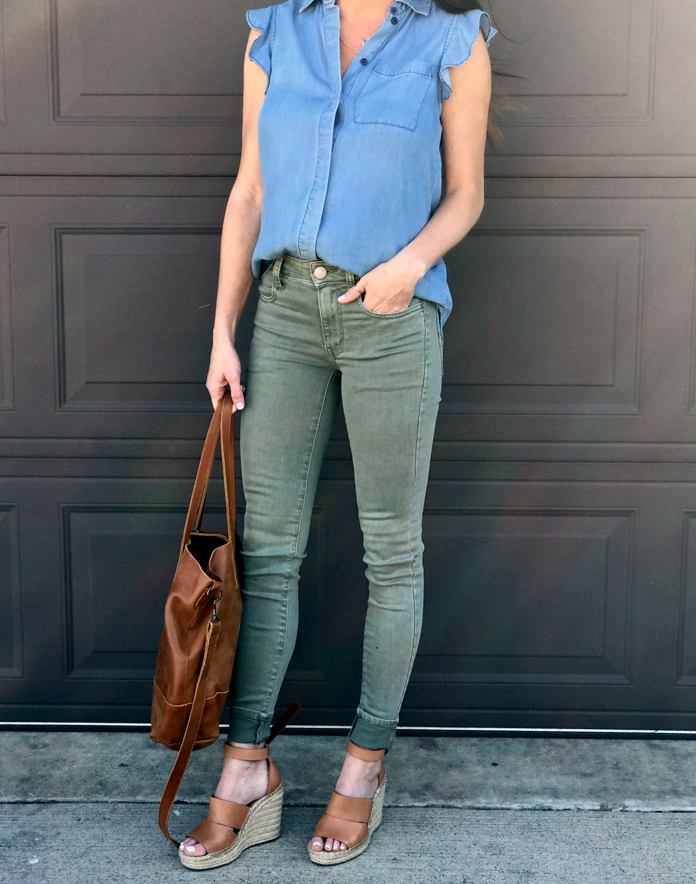 Green Pants, wedges, tote