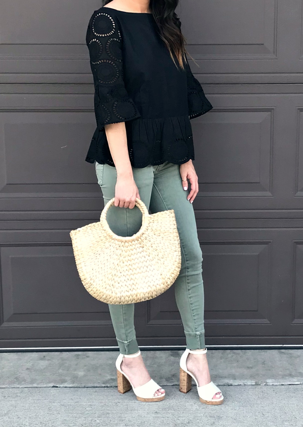 Green Pants, Straw Bag, Sandals