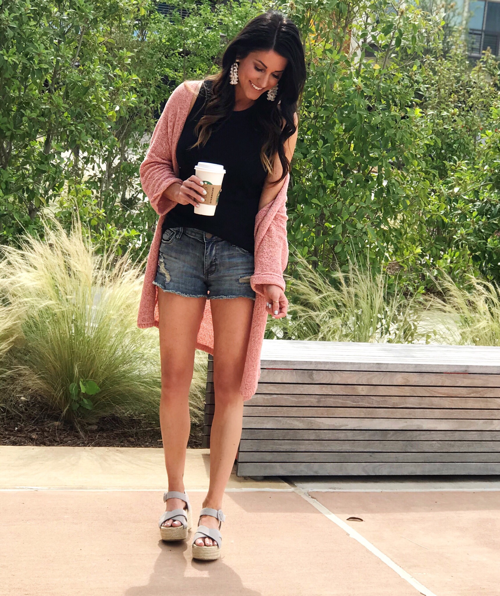 Spring outfit, cardigan and shorts
