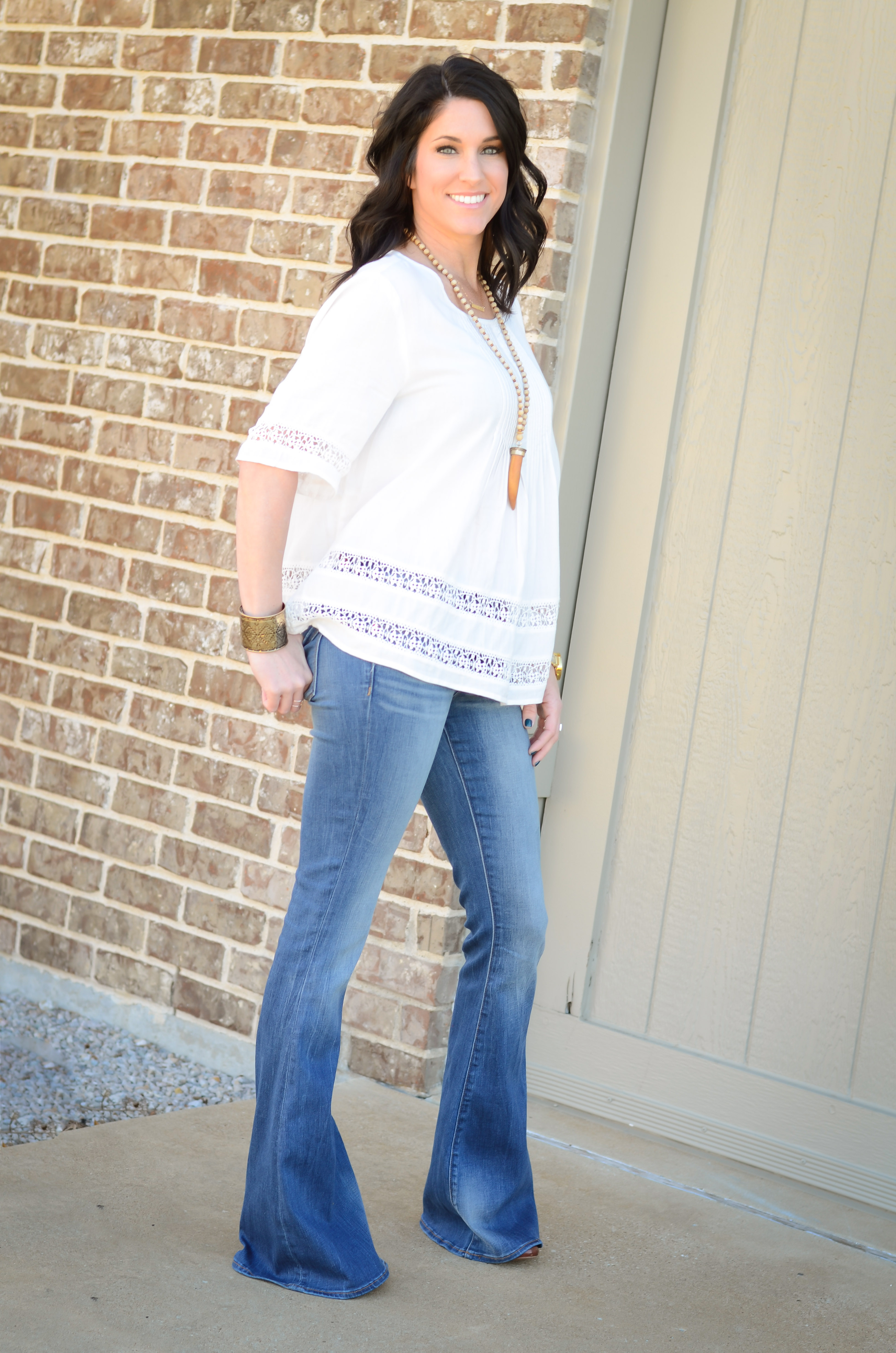 Flare Jeans and Boho Top