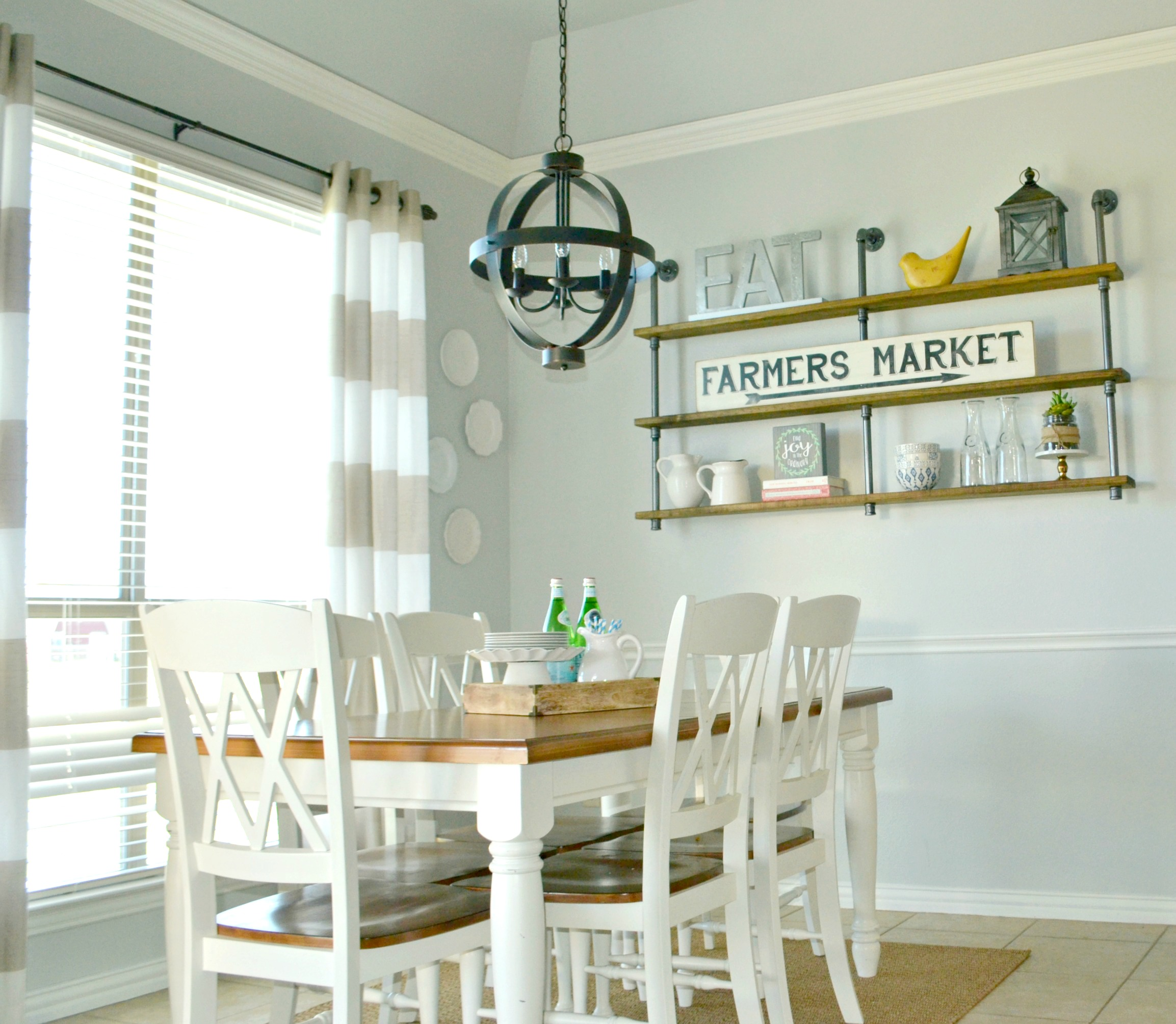 Pipe Shelves Breakfast Room Decor