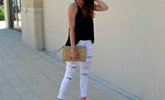 white jeans black top nude heels