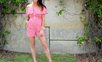 4th of July outfit Gingham Romper