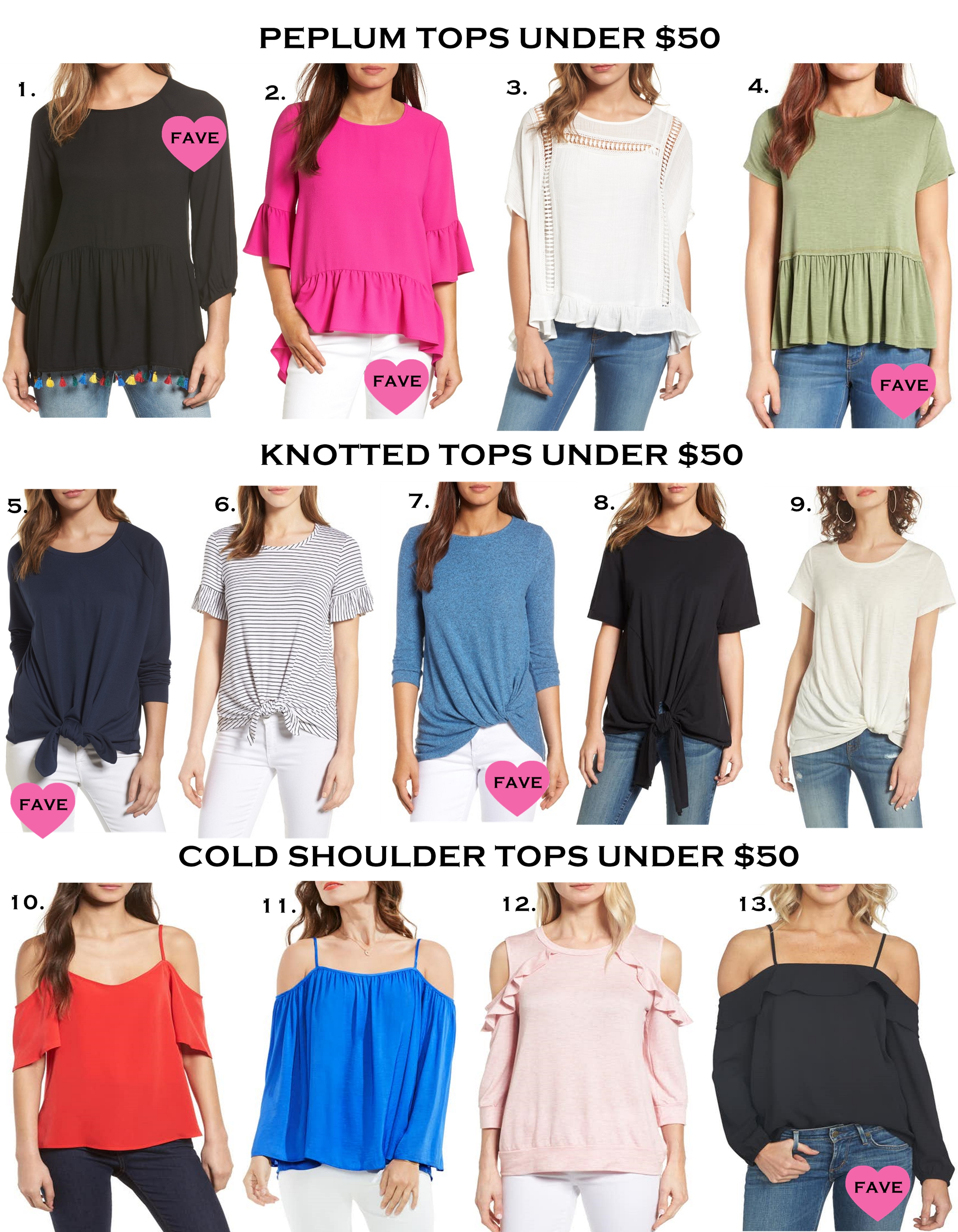 Summer Tops Under $50, cold shoulder tops, knotted tops, peplum tops