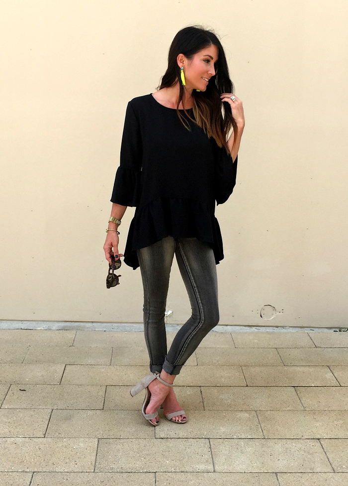 black and grey, black top, grey jeans