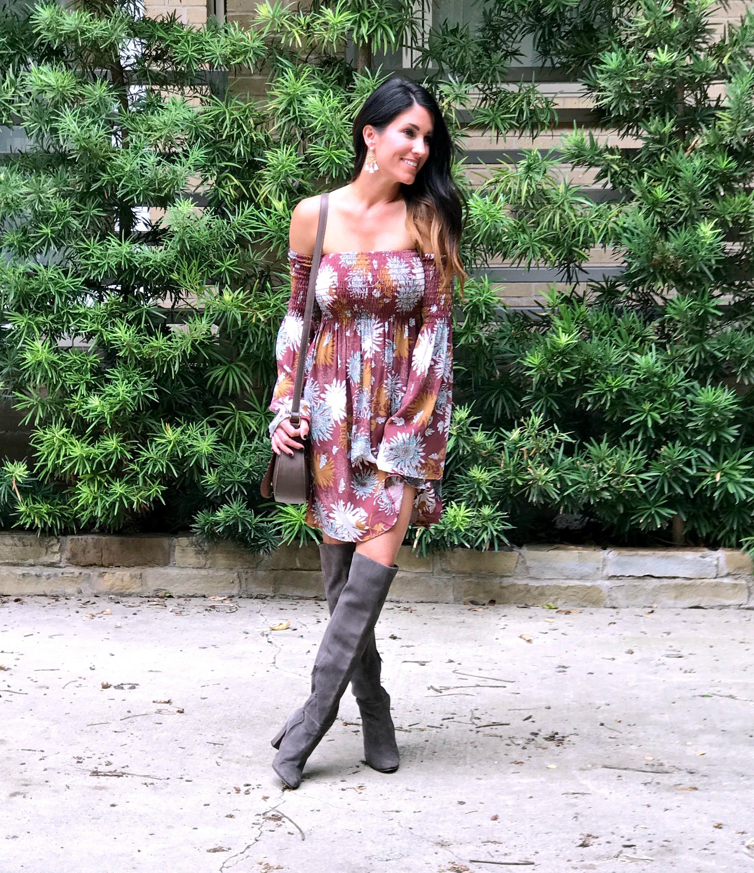 Boho Dress tall grey boots