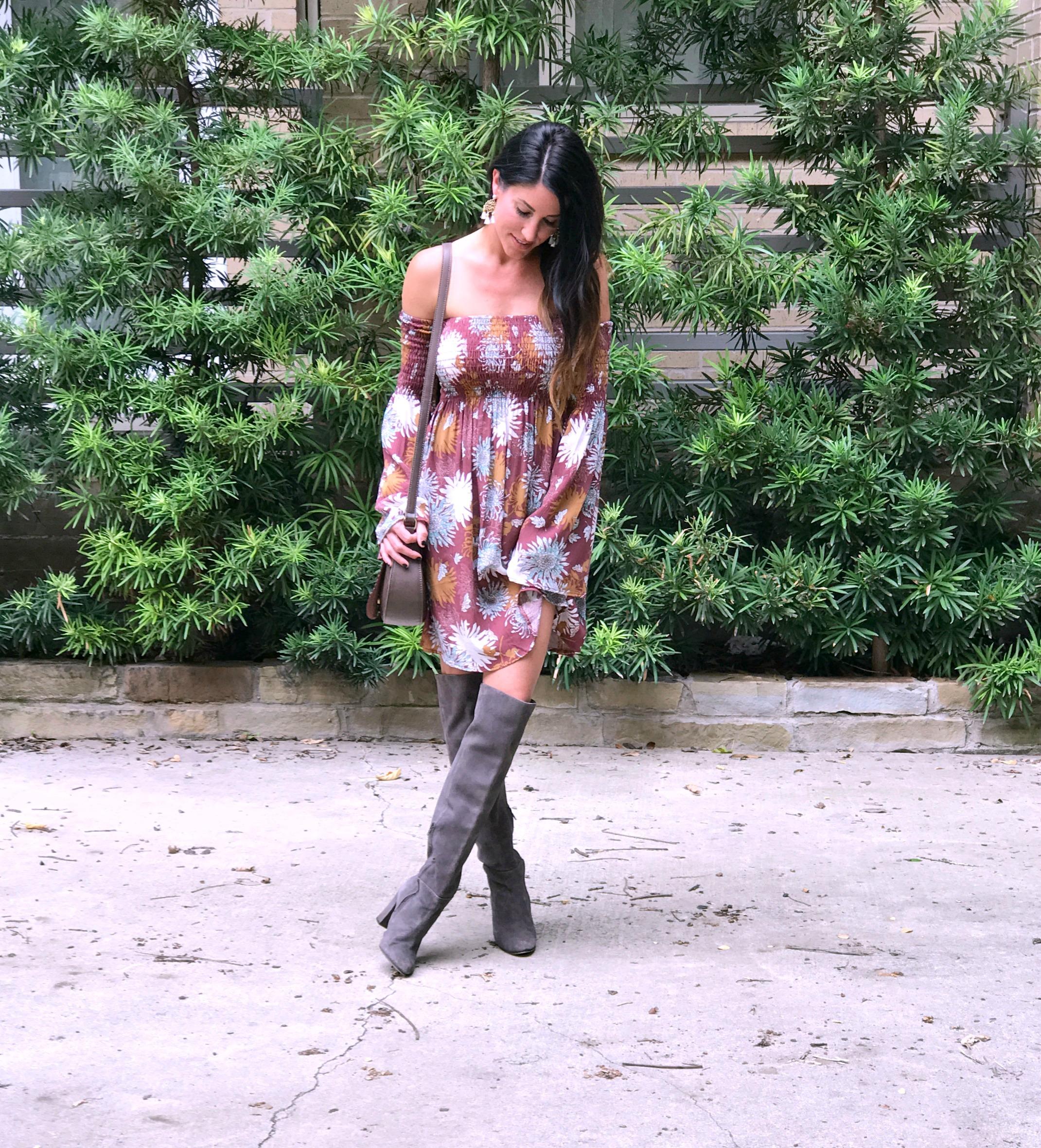 Boho dress, tall boots