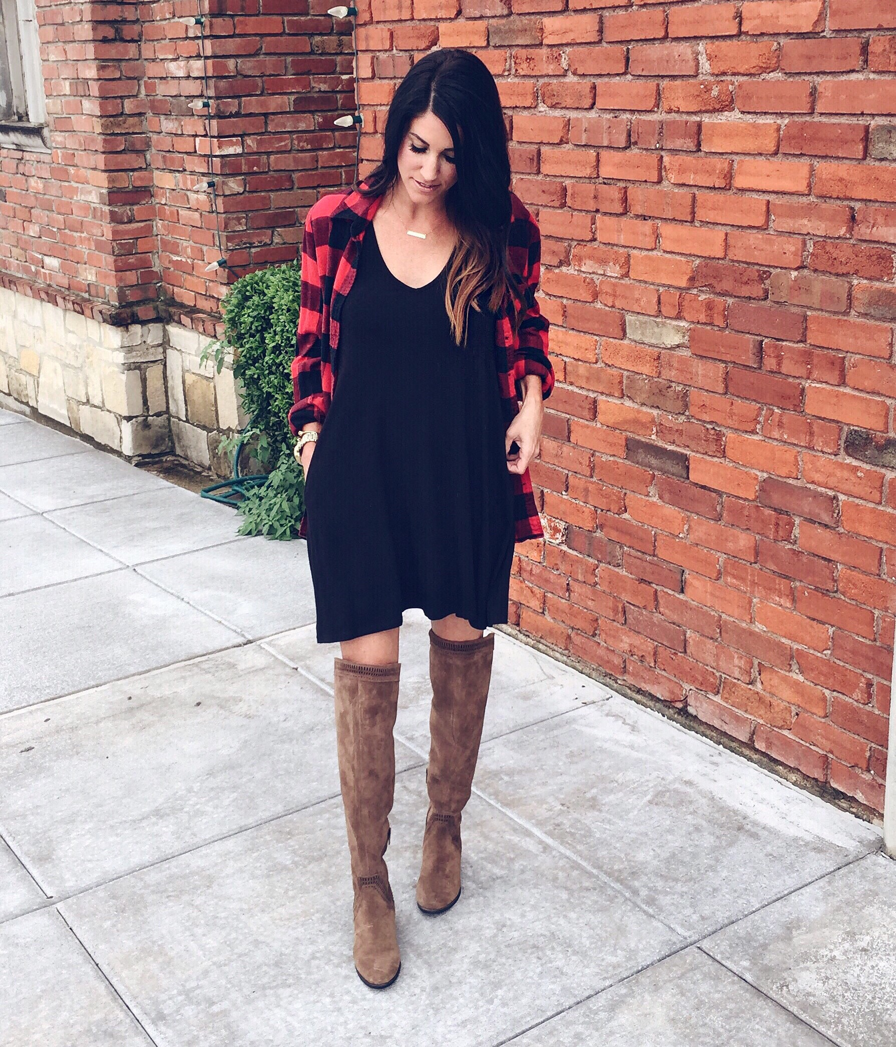 NSale: the final days, black dress, plaid top, over the knee boots