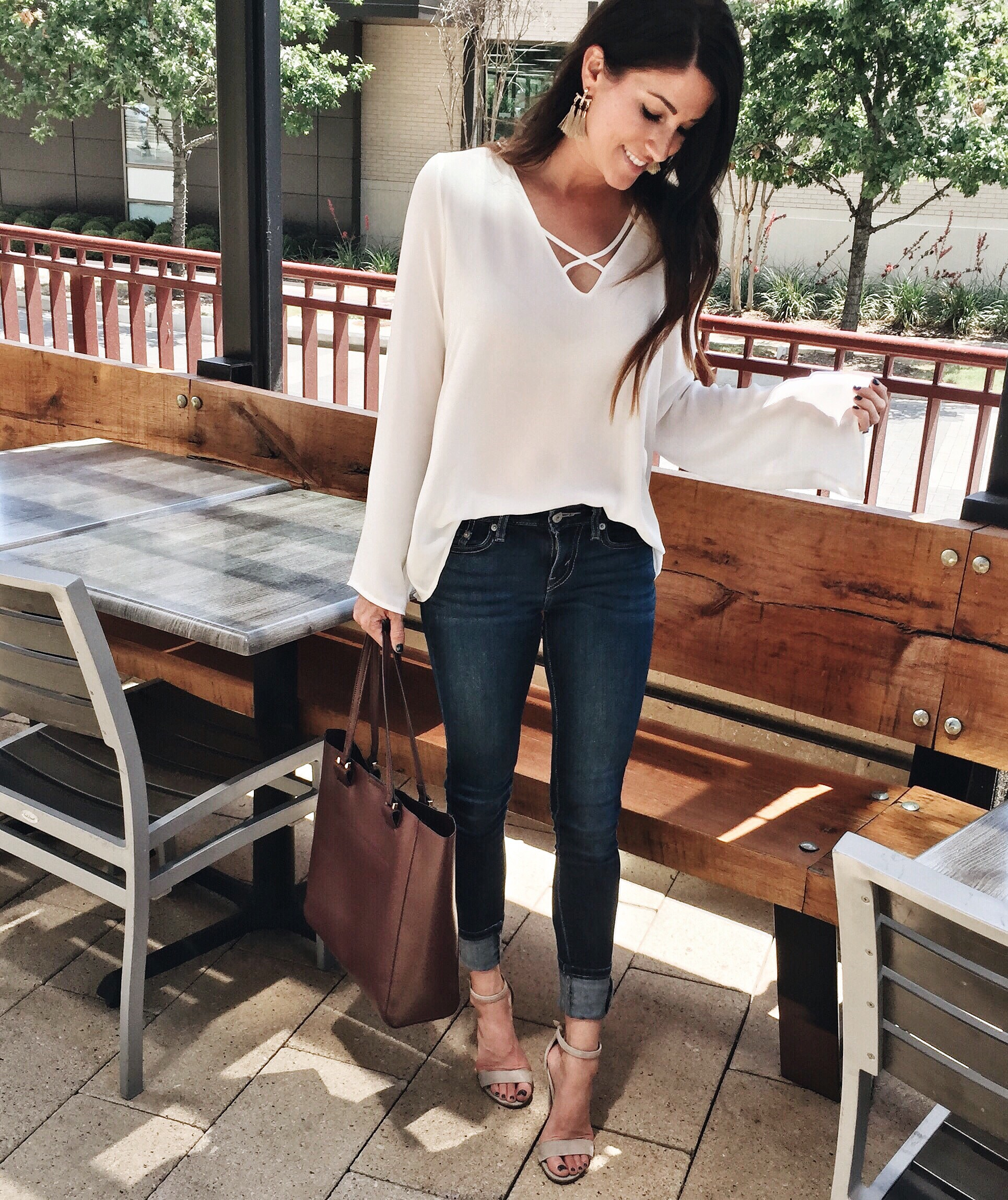 NSale the final days, white top, jeans, heels