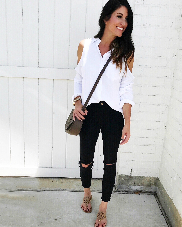 Cold Shoulder Top, black jeans, flops