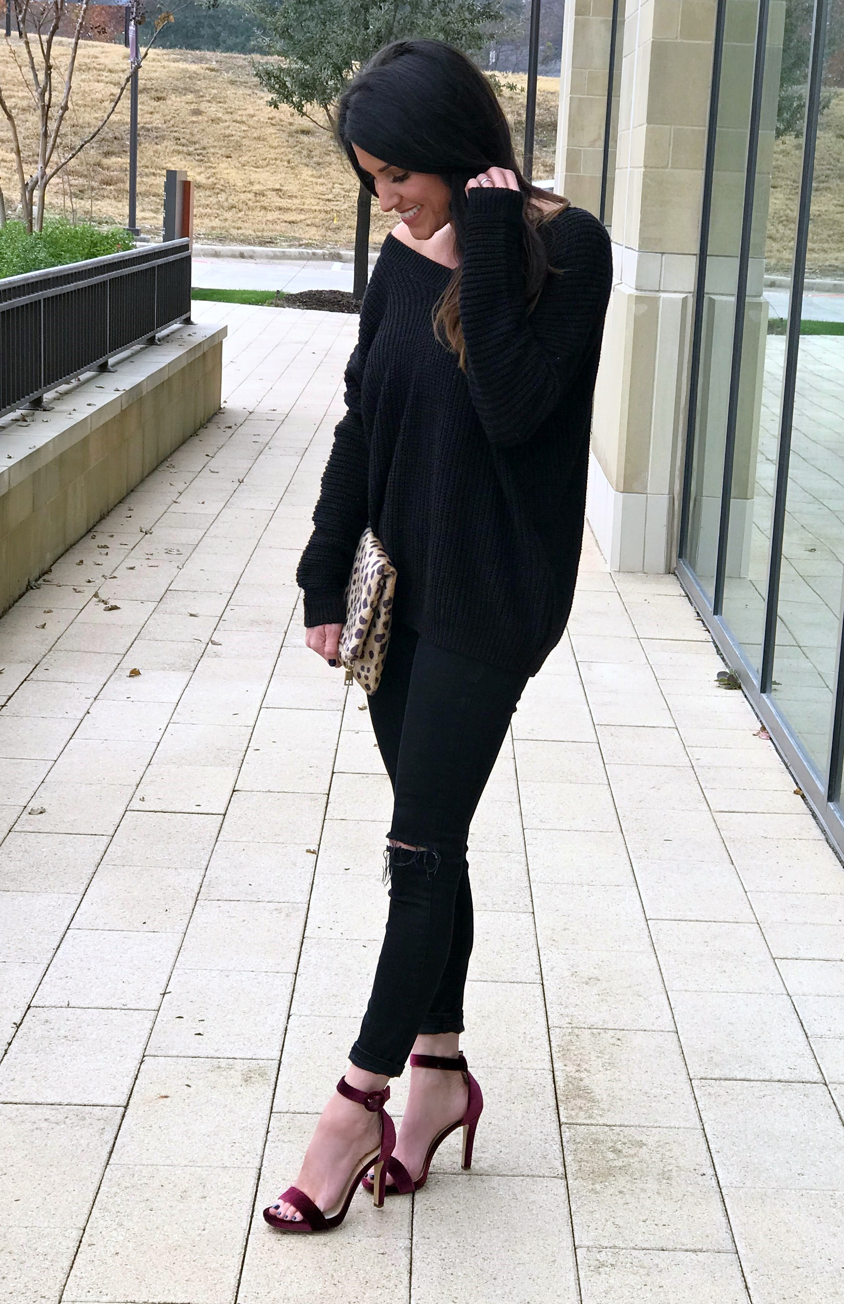 All black outfit, leopard clutch