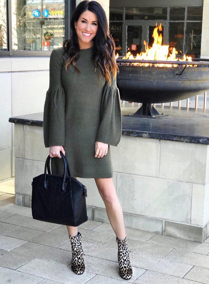 Green Bell Sleeve Dress