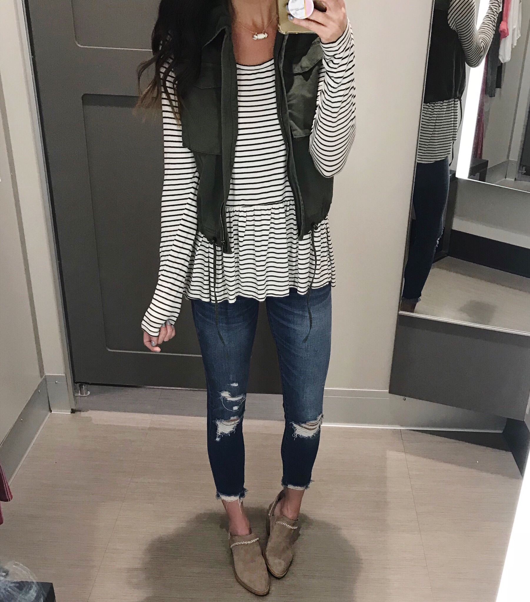 Vest, top, jeans, and booties