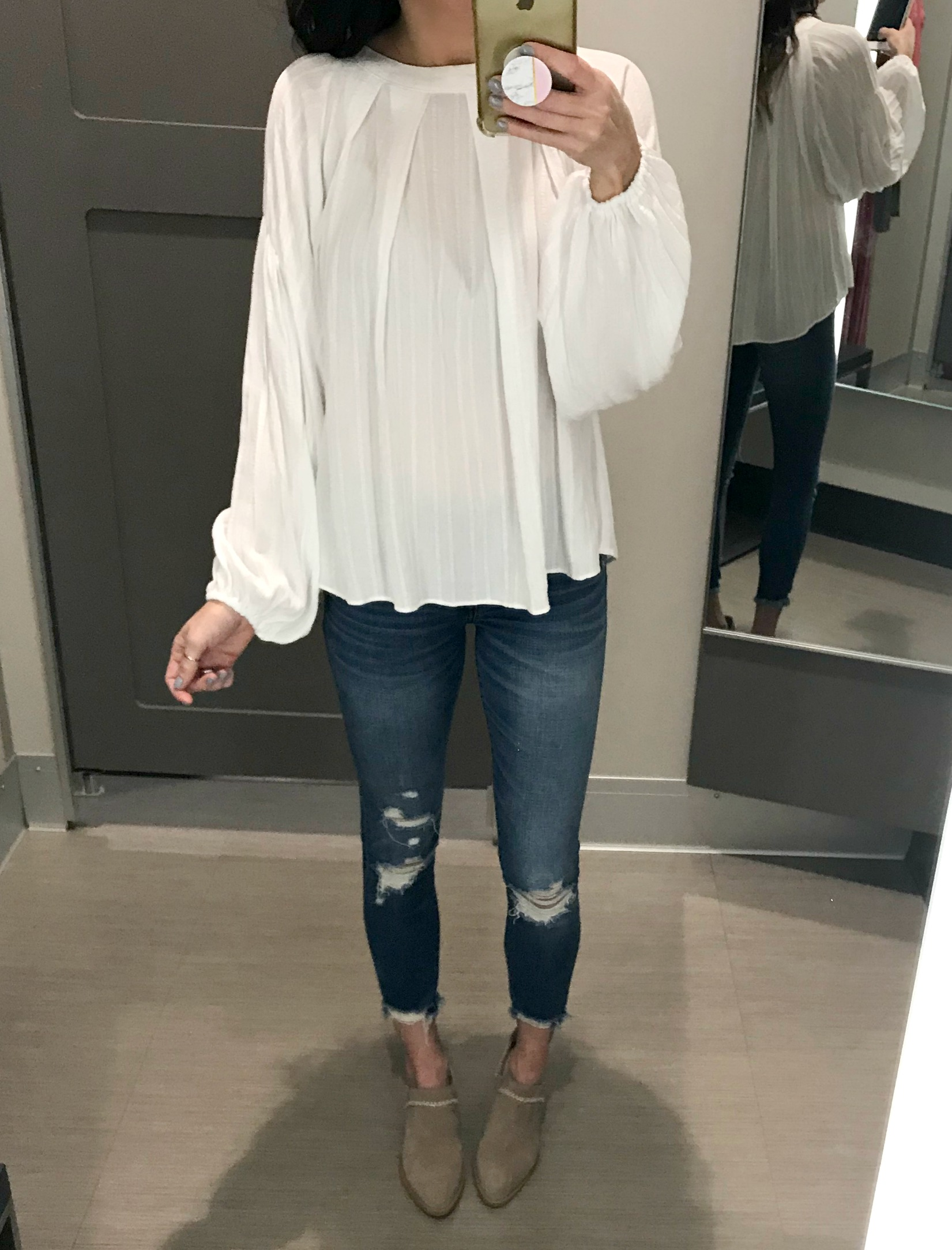 White Blouse, Jeans, Ankle Booties