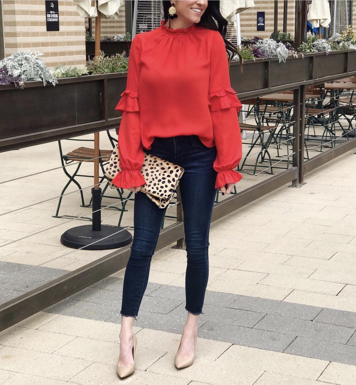 Jeans, Red Top, Heels, Leopard Clutch, Date Night