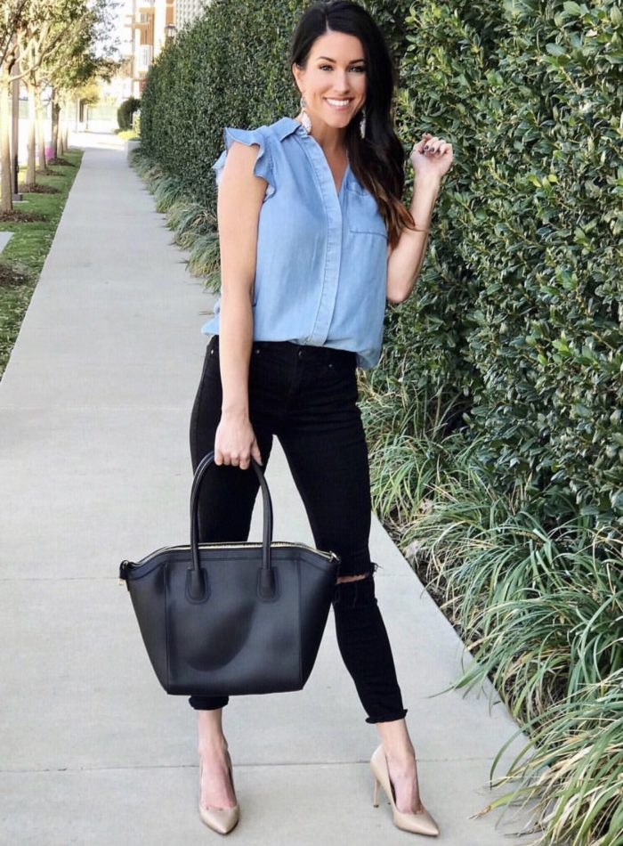 Chambray top, black jeans, nude pumps
