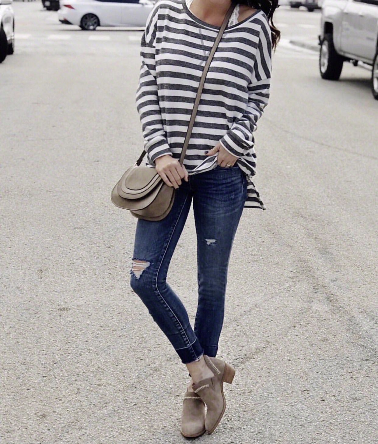 Jeans, Booties, and oversized sweater