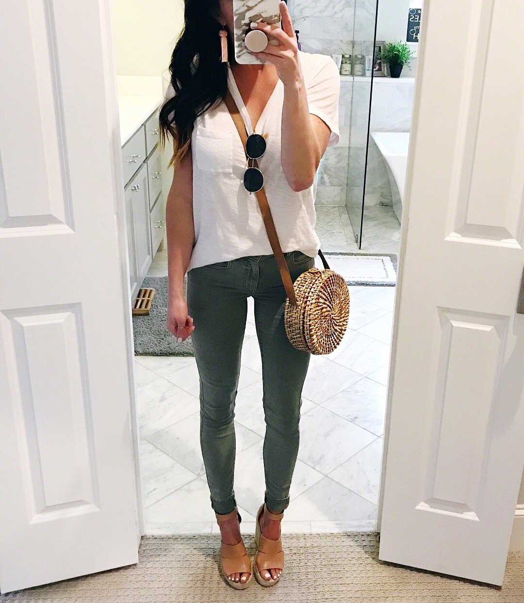 Green pants and white tee, spring style