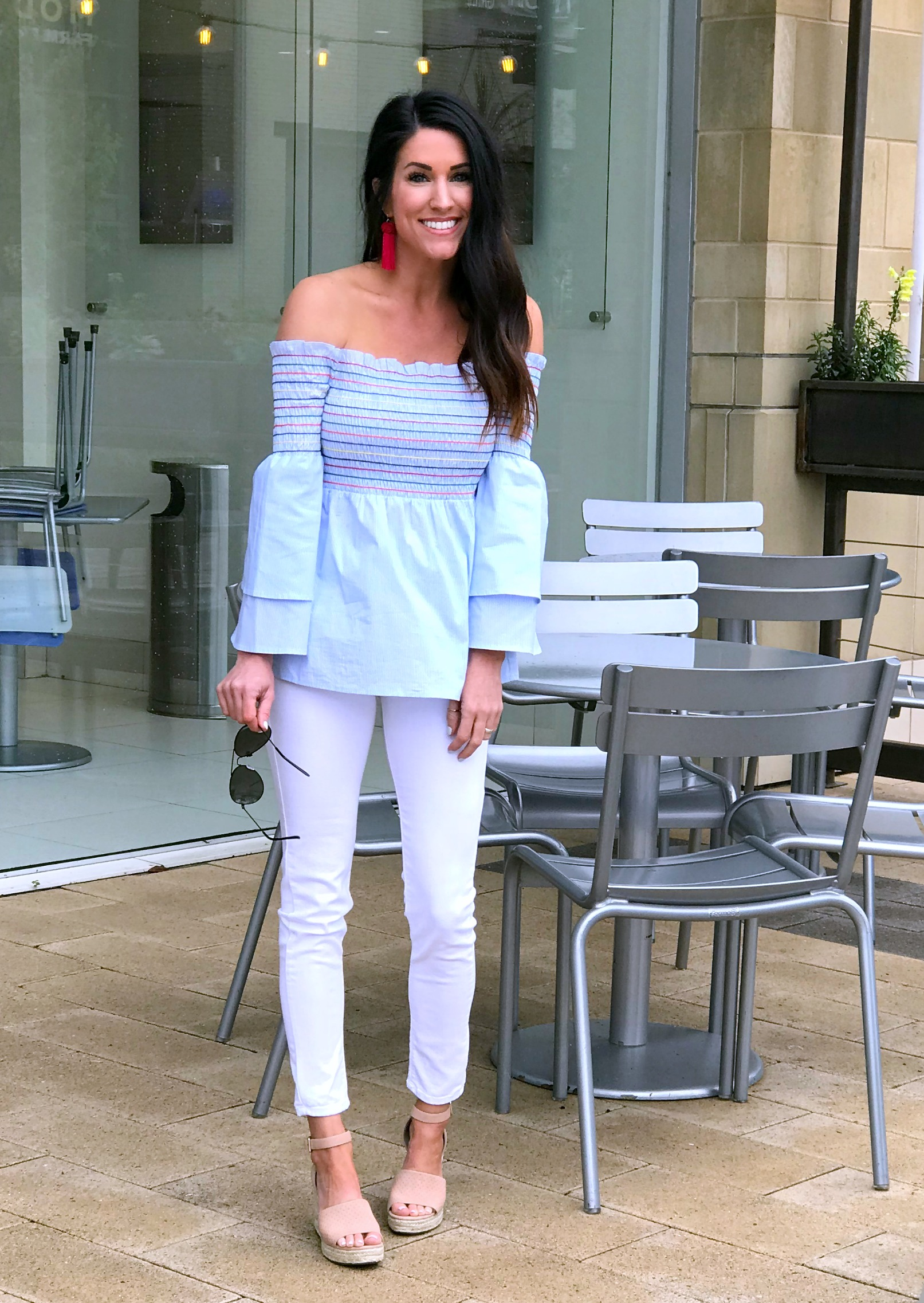 White jeans outfit, smocked top