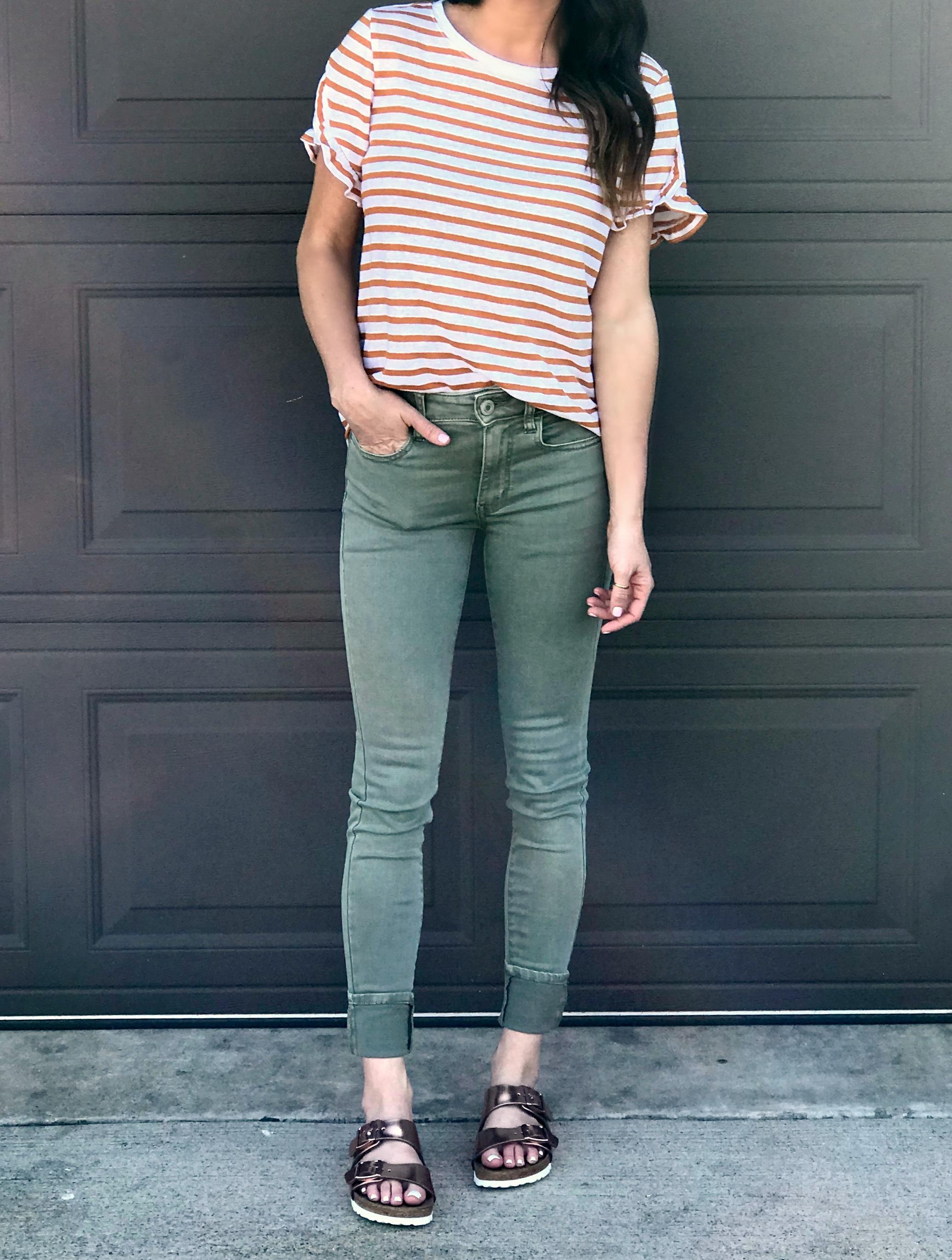 Green Pants, striped top, gold birkenstocks