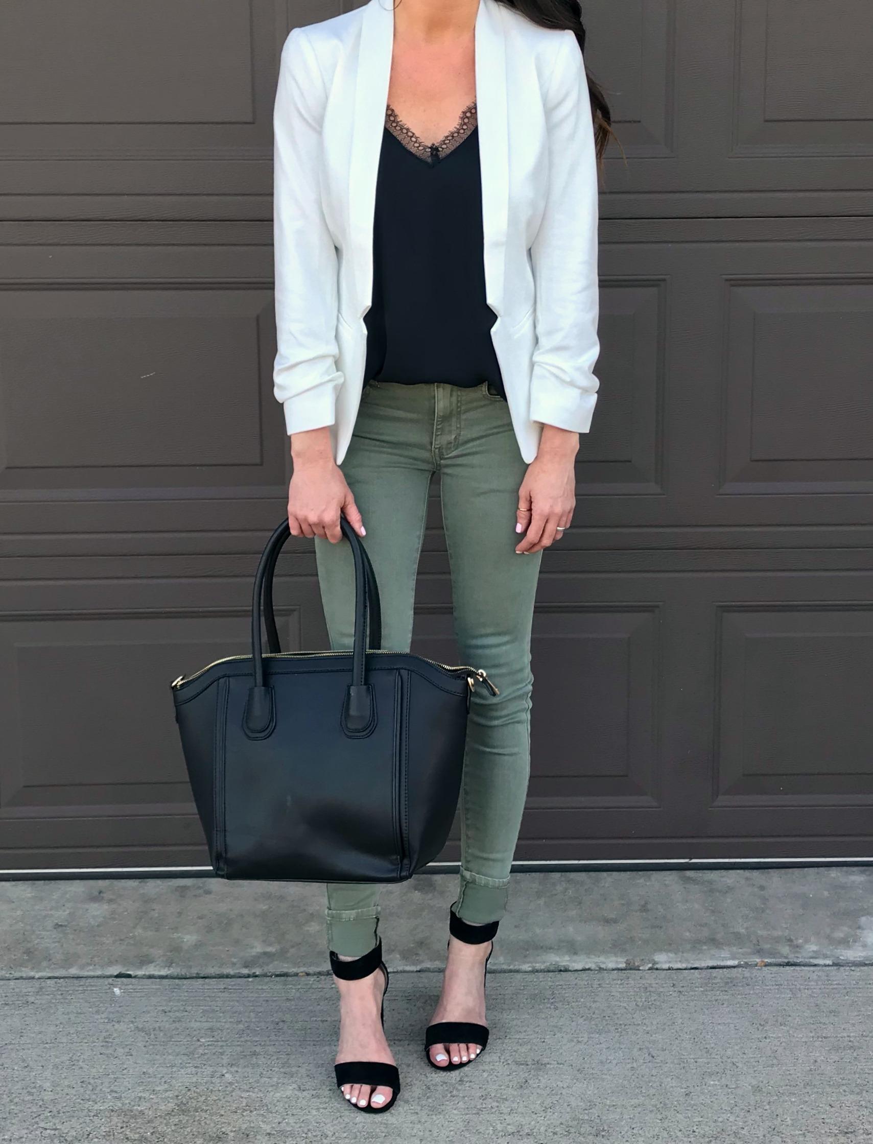 Green Pants, White Blazer, Date Night