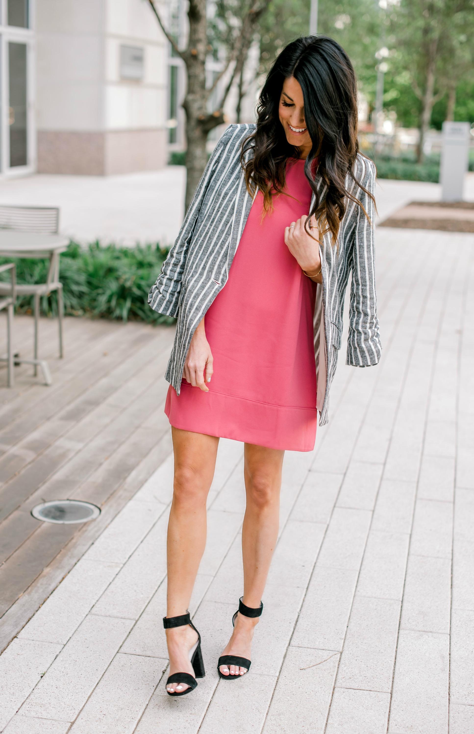 Shift Dress, blazer, heels