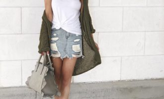 Summer outfit, denim skirt, cardigan, espadrilles