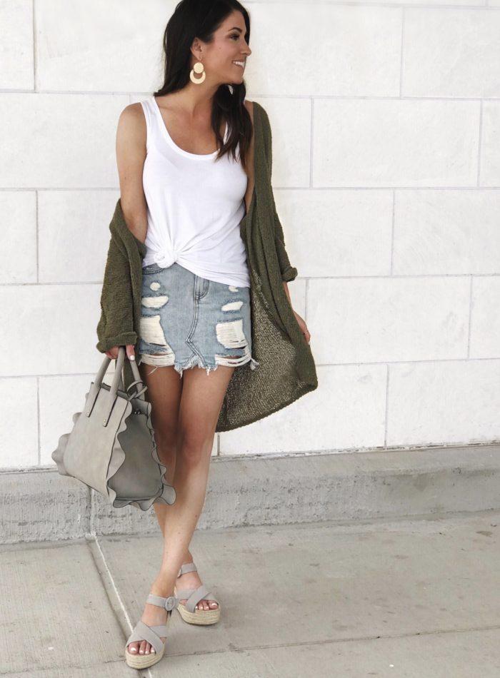 Summer outfit, denim skirt, cardigan, espadrilles