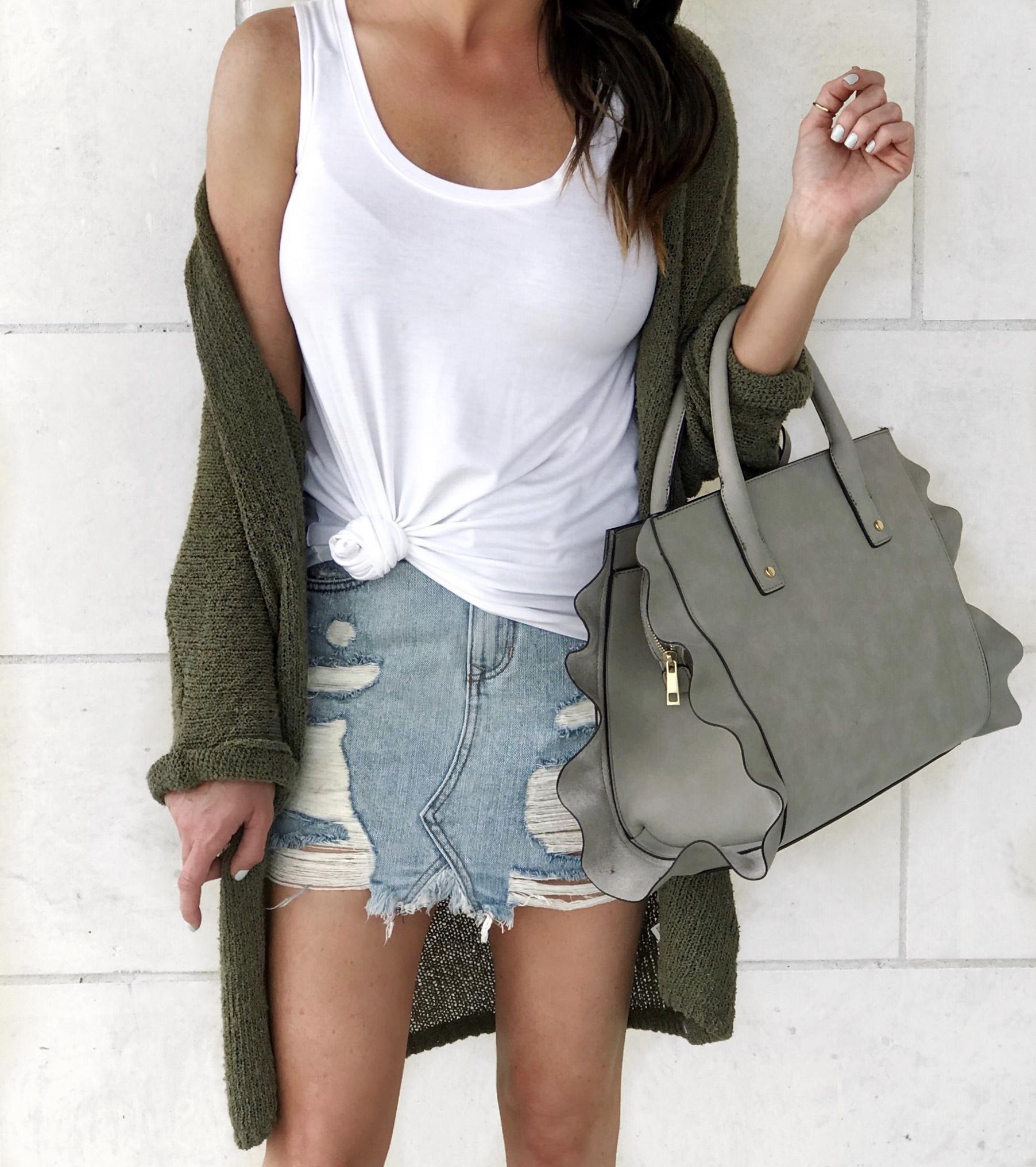 Summer bag, spring bag, summer style, denim skirt outfit