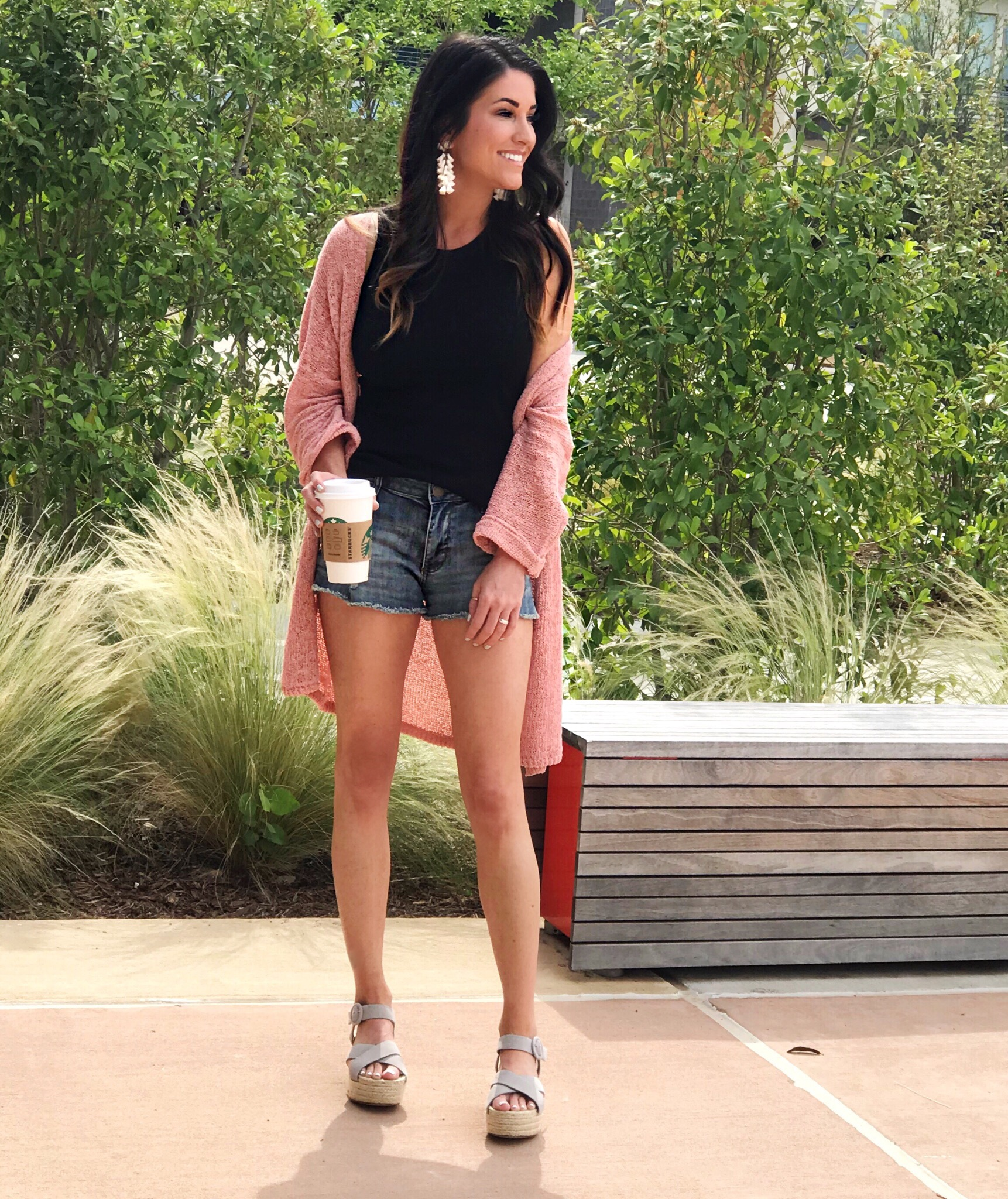Cardigan and shorts, summer outfit
