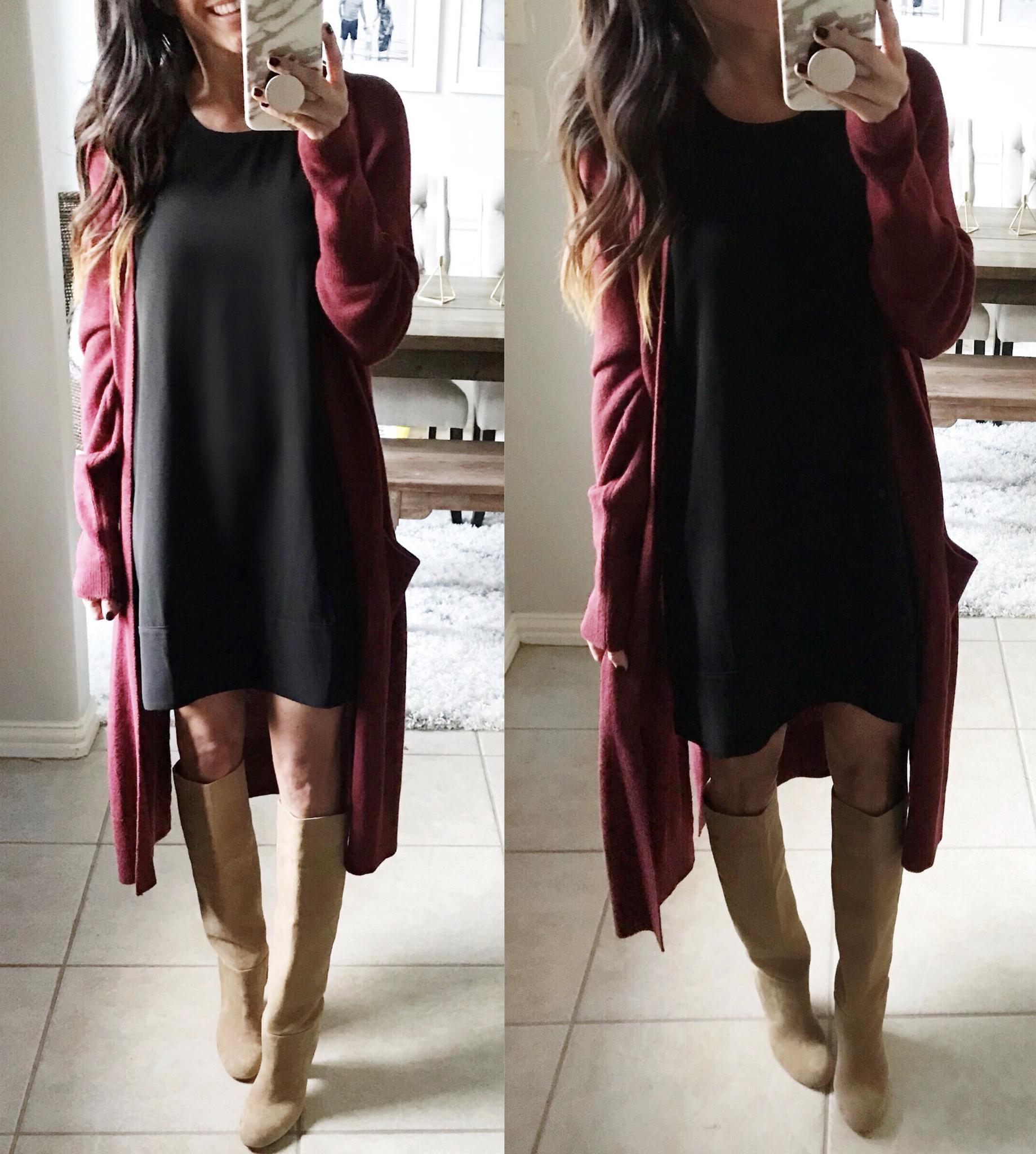 Dress, cardigan, boots