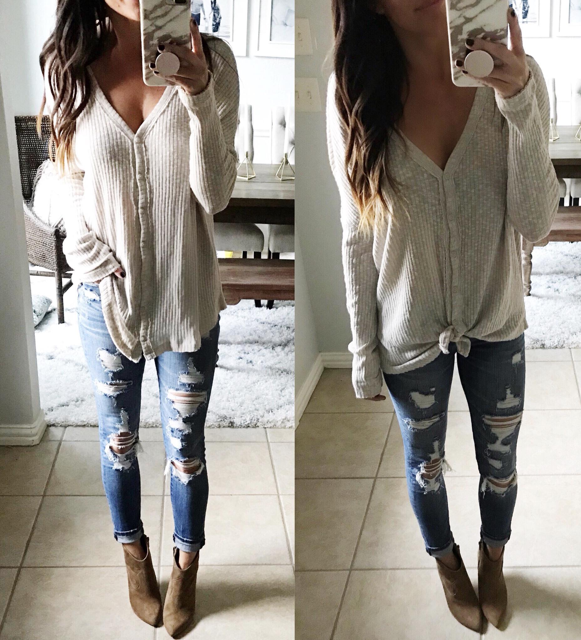 Jeans, top, booties