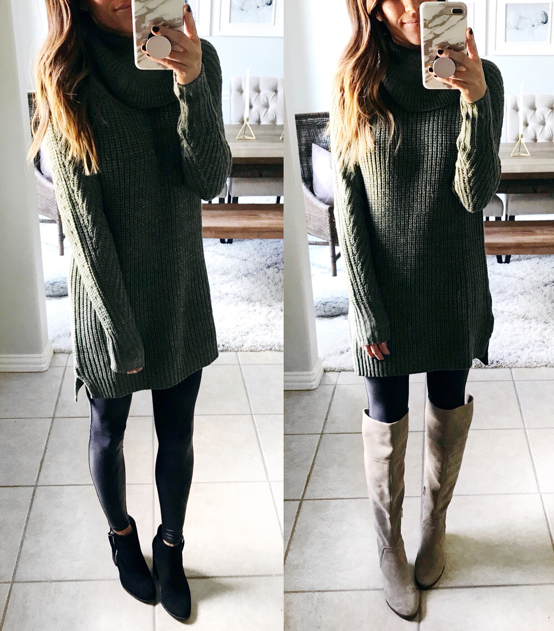 Fall outfit, leggings, tunic sweater