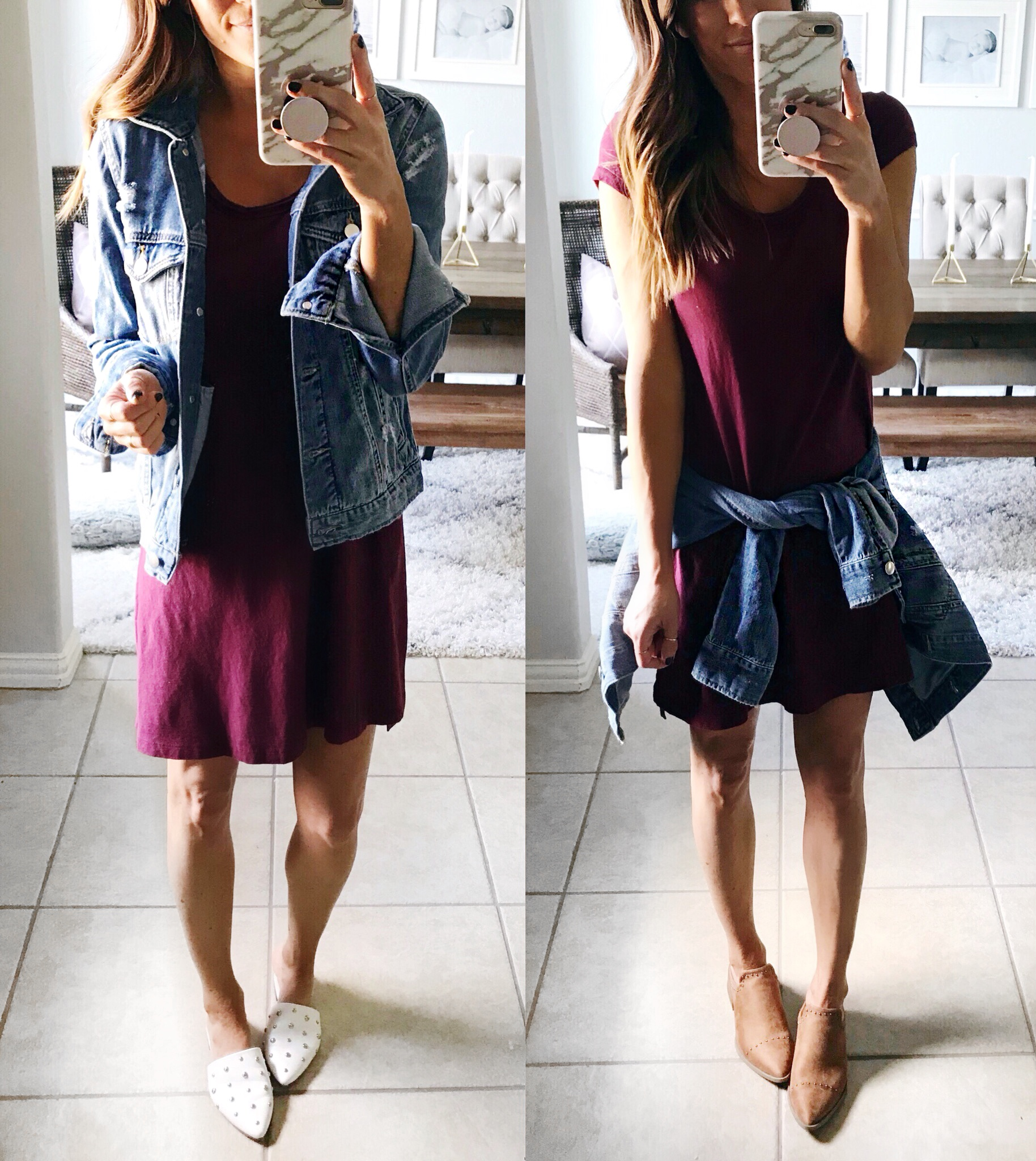 Casual outfit, t-shirt dress, mules